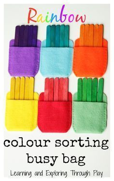 Rainbow colour sorting busy bag. Busy bag ideas for kids. Hands on learning. Preschool activities. Learning and Exploring Through Play.