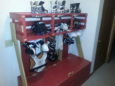 Think Mike Ulich wants to build this when he gets home?  I'm not sure the gear would smell any better but it would be cool to look at ! DIY Hockey - LaCrosse - Locker (or Soccer)