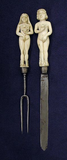 Wedding knife, fork and sheath - third quarter 17th century, British or Dutch | Ivory, steel, silver, aggregate inlay | Accession Number:64.101.1595–.1597 | The Met