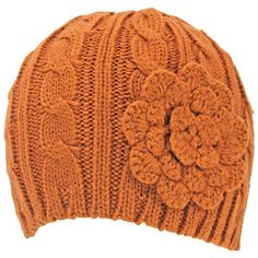 Rust Orange Cable Thick Beanie Hat With Rosette ($16) ❤ liked on Polyvore featuring accessories, hats, orange, cable hat, cable knit cap, beanie hats, knit beanie caps and knit hats