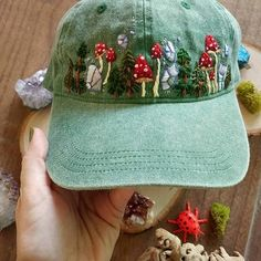 Planning out ideas for new hats for 2019 and I'm just reminiscing on this sweet mushy babe.🍄 Hat colors are… Hat Embroidery, Embroidery On Clothes, Hand Embroidery Designs, Cross Stitch Embroidery, Couture Embroidery, Simple Embroidery, Diy Fashion, Ideias Fashion, Gothic Fashion