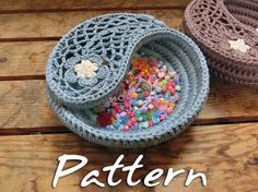 CROCHET PATTERN - Yin Yang Jewelry Dish, Crochet Christmas Gift, Crochet Basket Pattern. Easy Photo Tutorial, Instant Download PDF Pattern.