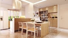 A light wood theme in the kitchen, coupled with tiled floors, makes the space feel very clean and modern.