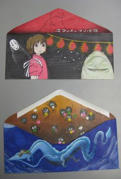 Had to design an envelop for my drawing class, I went with Hayao Miyazaki's Spirited Away