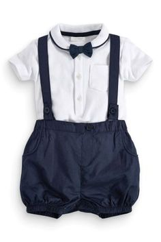 Buy Bodysuit, Shorts With Braces And Bow Tie Set (0-18mths) online today at Next: United States of America