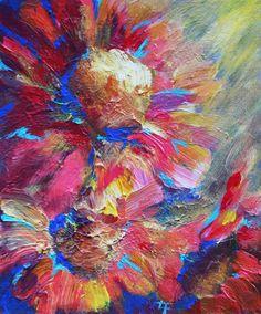 Rainbow Sunflowers  Acrylic Painting 5x6 Inches  by londonartgirl, $31.99