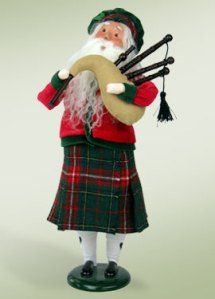This kilted Scottish Santa, complete with bagpipes will quickly become a favorite in your Byers Choice Caroler collection. His outfit includes a Green hat, Red jacket and red green plaid kilt. Tartan Christmas, Christmas Carol, Celtic Christmas, Christmas Holidays, Christmas Ideas, Christmas In Scotland, Father Xmas, Father Time, Bless The Child