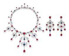 The Collection of Elizabeth Taylor: Jewelry (II) A SET OF RUBY, SAPPHIRE AND DIAMOND JEWELRY, BY HOUSE OF TAYLOR