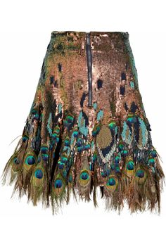 Matthew Williamson | Peacock feather-trimmed sequined skirt | NET-A-PORTER.COM