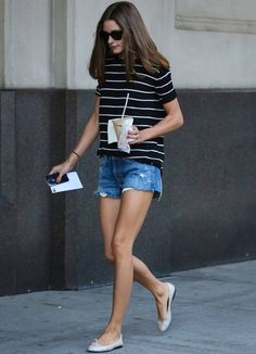 Striped tee, ripped denim shorts - casual cool