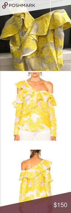 Self Portrait yellow filcoupe frill shirt In good condition! Missing one button in the front. Size US 2 self portrait Tops Blouses