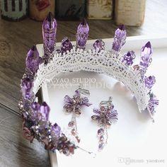 European Bride Tiaras Baroque Luxury Big Crowns 2016 Rhinestone Queen Diamond Hair Accessories Purple Crystal Ceramic Flower earrings suit