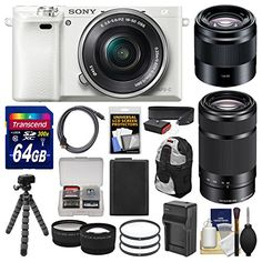 Sony Alpha A6000 Wi-Fi Digital Camera & 16-50mm (White) with 55-210mm & 50mm f/1.8 Lenses + 64GB Card + Case + Battery/Charger + Tripod + Kit