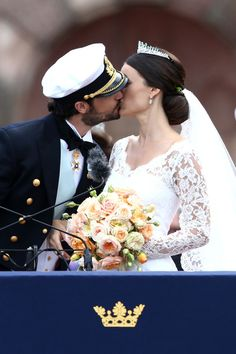 Prince Carl Philip of Sweden kisses his new wife Princess Sofia of Sweden after their marriage ceremony on June 13, 2015 in Stockholm, Sweden.