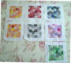 Hexagons in boxes. (Aurea´s Kitchen: Costura: Colcha de hexágonos de colores IV)