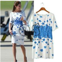 2015 Fashion Casual Butterfly Print Women Dresses Lady Vestidos Short Half Sleeve Office Work Dress Color BlueQ168
