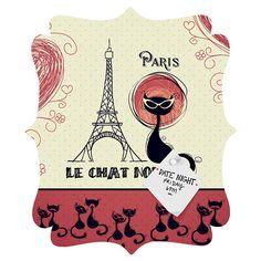 Belle13 Le Chat Noir Quatrefoil Magnet Board