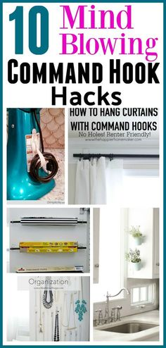 10 Mind Blowing Command Hook Hacks - Did you know that there are tons of ways to use Command Hooks besides the usual? Check out these 10 Command Hook hacks for some great inspiration! home organizing ideas, storage hacks, Things to Do With Command Hooks, Command Hook Hacks, Organizing with Command Hooks, How to Organize, Organization Hacks, Clutter Free Home