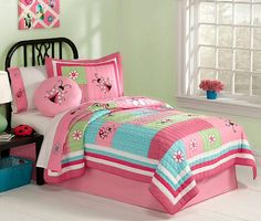 Pink Green Blue Ladybug Bedding Little Girls Twin Quilt Set Embroidered Cotton Bedspread
