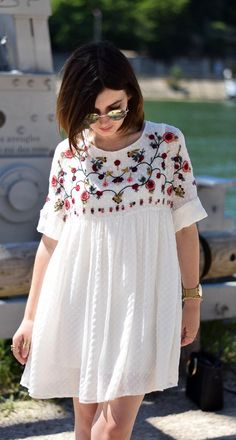 Boho Casual Summer Outfit 2018 - Boho Chic Fashion Style. White Embroidery Dress As Featured on PASABOHO. Street Fashion featuring trending boho style floral embroidery dress. Suitable for a casual day outfit or a holiday vacation. #Pasaboho