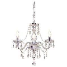 Shabby Chic 3 Light Fitting Ceiling Chandelier Clear Crystal Beads Marie Therese | eBay