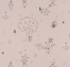 Buy online Catch A Star Wallpaper by Katie Bourne Interiors in Heritage Pink & Silver. Girls play in a starry wonderland. Perfect Wallpaper for nursery or a toddler, this wallpaper has lovely silver stars on a soft pink base. Interior Wallpaper, Star Wallpaper, Nursery Wallpaper, Kids Wallpaper, Perfect Wallpaper, Beautiful Wallpaper, Silver Stars, Designer Wallpaper, Little Girls