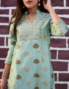 c25c3daff2013 Shop Grey Green Silk Brocade Zardosi Kurta with Pant by Siddhi Creations