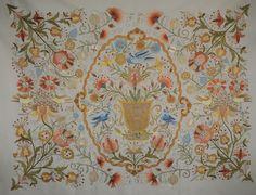 """Valley of Pleasures Silk Embroidery Wall Tapestry """"Bordado de Castelo Branco"""""""