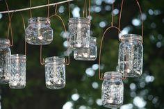 Mason Jar Lanterns Jars and Copper Wire Hangers-Upcycled Jars-Wedding Decor- Hanging Candle Jars Set of 8