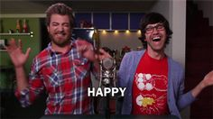 """Rhett & Link HAPPY!!! ...""""Did I miss this episode?? I don't remember it... but this gif is making me smile so much. XD"""""""