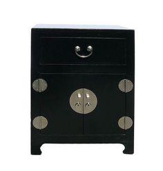 Chinese Black Veneer Leather End Table Nightstand on Chairish.com