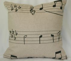 Musical Notes Decorative  Linen Pillow Cover in by pillows4fun, $28.00