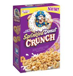 If you think coffee and donuts is a perfect combination, wait until you try milk with our new Cap'n Crunch Sprinkled Donut Crunch! Each irresistible mini-donut flavored piece is topped with colorful sprinkles and is packed with the Cap'n's classic CRUNCH! New Cereal, Crunch Cereal, Cap'n Crunch, Cereal Recipes, Snack Recipes, Snacks, Breakfast Recipes, Cereal Killer, Sprinkle Donut