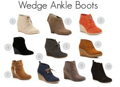 Suede wedge ankle boots are perfect for fall and look best when worn with denim, chunky sweaters, a field jacket or funky skirts and a pair of leggings.