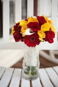 weddify: by isha foss events: Real Wedding: Red/White/Yellow Wedding Flowers