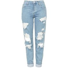 TopShop Moto Super Rip Hayden Jeans (345 RON) ❤ liked on Polyvore featuring jeans, pants, bottoms, topshop, destroyed boyfriend jeans, destroyed jeans, blue jeans, destructed jeans and boyfriend jeans