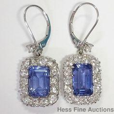 AGL Natural Sapphire No Heat 10ctw Diamond Platinum Dangle Earrings #DropDangle