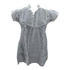 Mogulinterior Tunic Chikan Cotton White Blouse Top Medium Size