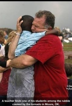 photo - Jim Routon hugs Hezekiah Darbon at Briarwood Elementary school after a tornado destroyed the school in south OKC Oklahoma City, OK, Monday, May Near SW and Hudson. By Paul Hellstern, The Oklahoman I Smile, Make Me Smile, Oklahoma Tornado, Oklahoma City, Travel Oklahoma, Hugs, Human Kindness, Cool Mom Picks, Faith In Humanity Restored