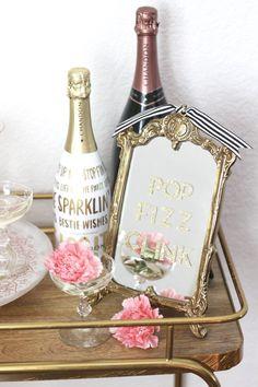 Valentine's Day Bar Cart: Pop Fizz Clink: Chandon Details: AMarriedAdventure.com