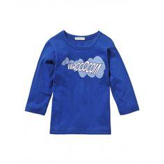T-shirt manica lunga, con stampa, in jersey di cotone.3096MM114 BLUE