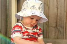 Oliver + S Bucket Hat - Free Pattern and Review {She actually **stamped** the images onto the fabric! Love it!! <3}