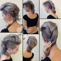 35 Short Punk Hairstyles to Rock Your Fantasy - long pastel lavender Mohawk hairstyle Long Mohawk, Grey Hair Mohawk, Girl Mohawk, Short Hair Cuts, Short Hair Styles, Diy Hairstyles, Fantasy Hairstyles, Short Punk Hairstyles, Mohawk Hairstyles For Women