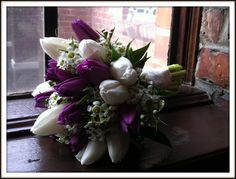 wedding flowers purple and white tulips