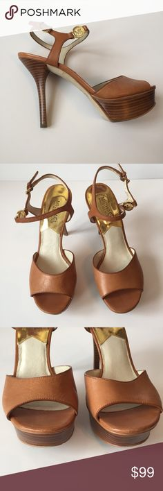 "HP♥️Michael Kors tan heels size 7.5M Michael Kors tan heels. Great condition! Size 7.5M ♦️Host Pick 'Flirty Favorites!' 6/2/17♦️ Heel height is 4"" KORS Michael Kors Shoes Heels"