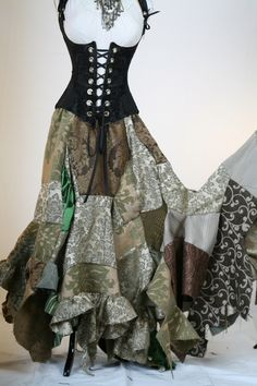 Green Full Length Patchwork Skirt by Damsel in this Dress