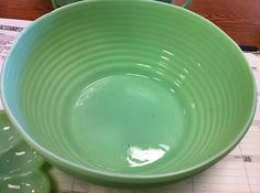 Large Jadite Ribbed Serving Bowl - Maker Unknown