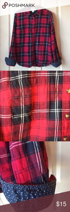 Red and blue flannel shirt Button down flannel shirt with pockets Tops Button Down Shirts