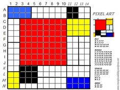 Piet Mondrian, Pixel Art, Art Festa, Free Printable Puzzles, Small Cross Stitch, Diy Perler Beads, Math Art, Mosaic Patterns, Paper Piecing