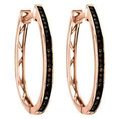De Couer 10k Rose Gold 1/6ct TDW Cognac Diamond Hoop Earrings ($258) ❤ liked on Polyvore featuring jewelry, earrings, champagne, round diamond earrings, hinged hoop earrings, champagne earrings, rose gold jewelry and diamond jewelry
